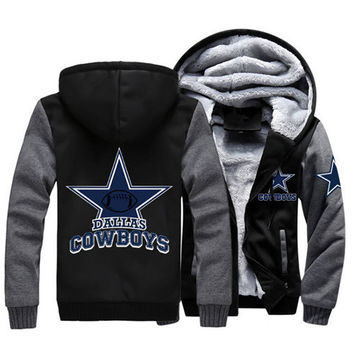Men Women Foot ball Cowboys Zipper Jacket Sweatshirts Thicken Hoodie Coat Clothing Casual  USA size