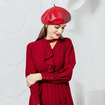 LMFON2D Women's Fashion Red Sheepskin Leather Beret Berets Casual Street Hat Cap