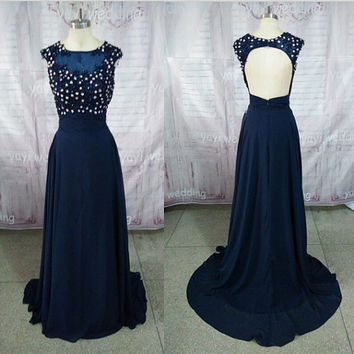 Dark Navy Scoop Neckline Backless Appliques Crystals Floor Length Sexy Prom Dresses Formal Evening Party Dress ET186