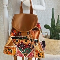 Modern Vegan Leather + Patchwork Backpack