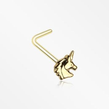 Golden Unicorn Stay Magical L-Shaped Nose Ring