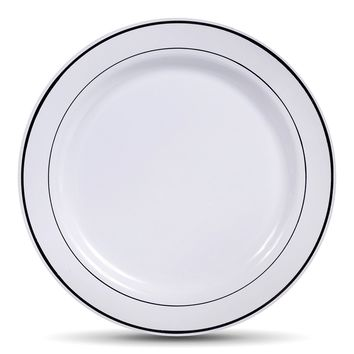 Select Settings 50 (10.25 Inch) White with Silver Rim Plastic Disposable Dinner Plates