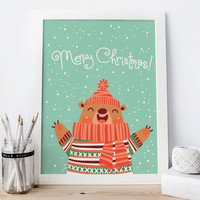 Bear print merry christmas card nursery decor printable,  Merry christmas banner, kids room, Christmas decor, wall art, instant download