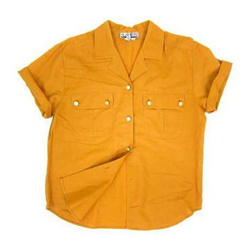 Vintage 90s Mustard Yellow Shirt Oversized Short Sleeve Top Minimal Cotton Shirt Preppy Modern Oversize Boxy Pocket Tee Womens Large 12