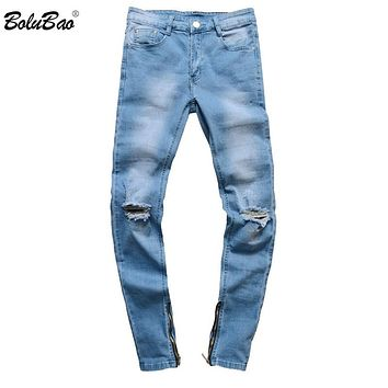 New Spring Men Jeans Denim Pants Hollow Out Ripped Hip Hop Slim Fit Fashion Pleats Trousers Male Jeans