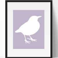Purple Background Bird Print (Frame NOT Included)