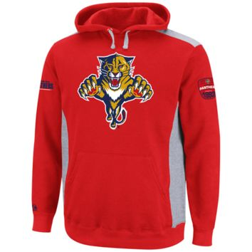 Majestic Florida Panthers Hat Trick Pullover Hoodie - Red/Ash