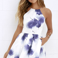 Summer White Spaghetti Strap Blue Print One Piece Dress [4920607364]