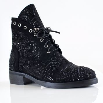 Rhinestone Combat Boot with Skull Ends
