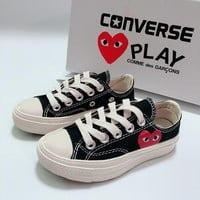 CDG Play x Converse Chuck Taylor 70s All Star Low Top Black White Canvas Child Sneaker Toddler Kid Shoes - Best Deal Online