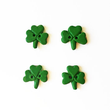 Shamrock Buttons - St Patrick's Day Buttons - Polymer Clay Buttons - Clover Buttons - Green Buttons - St. Pattys Day Buttons - Irish Buttons