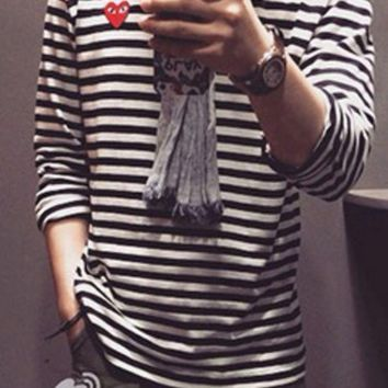 PEAPUF3 Play Casual Fashion Long Sleeve Pullover Stripe Round Neck Sweater