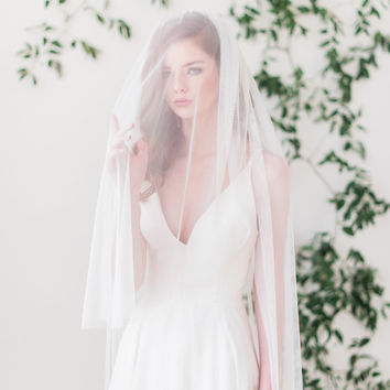English net bridal veil with blusher