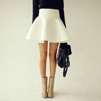 Vintage Ladies Saia High Waist Flared Puff Skirt Mini Skater Ball Skirts