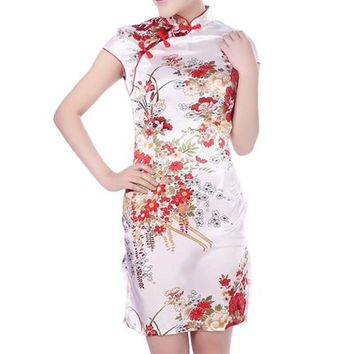 White, Red, Black Floral Short Cheongsam One-piece Chinese Qipao Dress