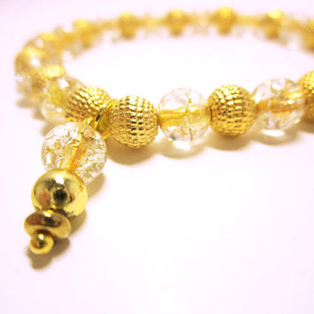 JEWELRY Gold Crackle And Textured Bead Bracelet Stretch Cord Bracelet With Matching Dangle Gift Idea For Her