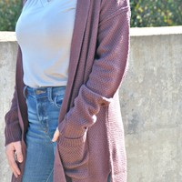 Don't Be Late Hooded Cardigan - Plum