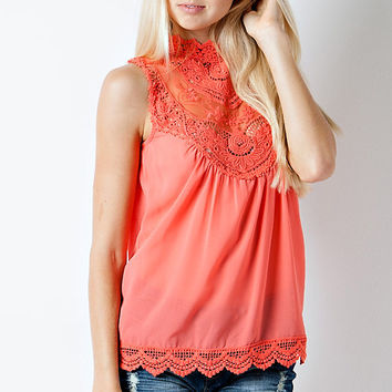 Lace Sleeveless Top - Coral