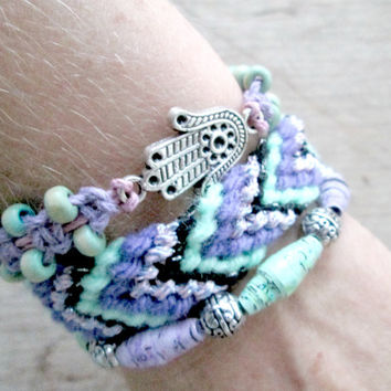 Boho Friendship Bracelet Stack - Hamsa Bracelet - Mint and Mauve Jewelry - Paper Bead Jewelry - Upcycled, recycled,repurposed - Hippie Gypsy