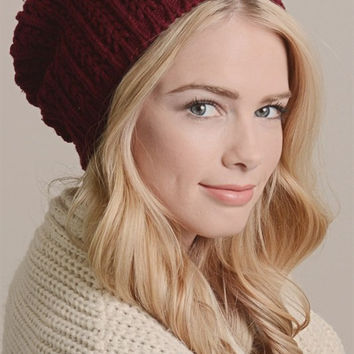 Pointelle Slouch Beanie - Red