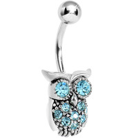 Silver 925 Aqua CZ Clever Owl Belly Ring | Body Candy Body Jewelry