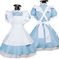 Alice In Wonderland Cosplay Fancy Dress Girl Maid Uniform Lolita Women Costume