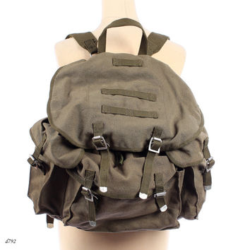 Canvas Backpack . Military Rucksack . Khaki Green Army Backpack