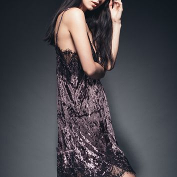 The Purple Velvet and Lace Slip Dress