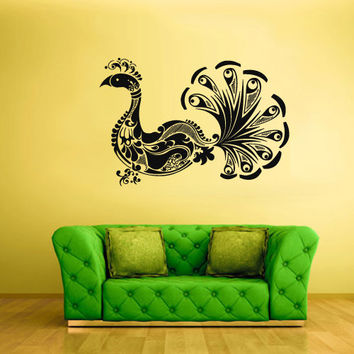 Wall Vinyl Sticker Decals Decor Art Bedroom Design Mural Peacock Peaflowl Bird Tribal (z319)