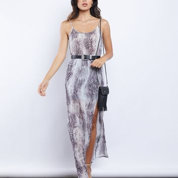 Pheonix Sheer Snakeskin Maxi Dress