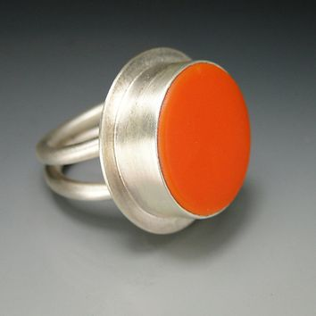 Round Tangerine Double Band Stained Glass Ring