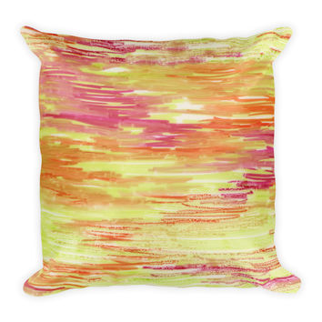 Watercolor Yellow Pink Orange Brush Strokes Decorative Throw Pillow 18x18