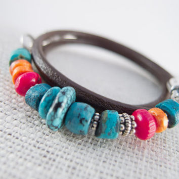 Turquoise Wrap Bracelet, Turquoise, Coral, Spiny Oyster and Silver, Sundance Style Jewelry, Leather Wrap Bracelet, Stackable, Handmade Clasp