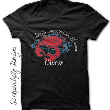 Cancer Astrology Shirt - Womens Astrology Top / Mens Cancer Zodiac Tshirt / Gift for Her / Kids Crab Tee / Zodiac Star Sign Clothing / July