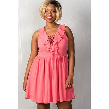 Ladies fashion plus size sleeveless lace up v neck with a ruffle neckline back zipper closure flaring skater dress