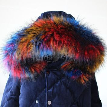 Lady Blinger new faux raccoon fur scarf winter jacket hood fur decor shawl multicolor fake fur scarf winter men coat fur collar