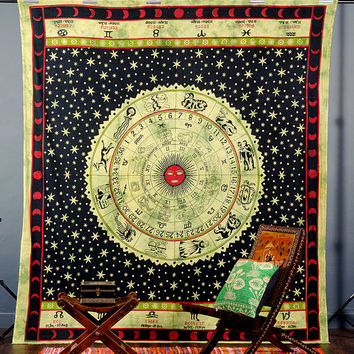 Beautiful Horoscope Tapestry, Indian Tapestry,Hippie Tapestry, Bed Cover, Bohemian Wall Hanging, Indian Wall Hanging, Indian Tapestries