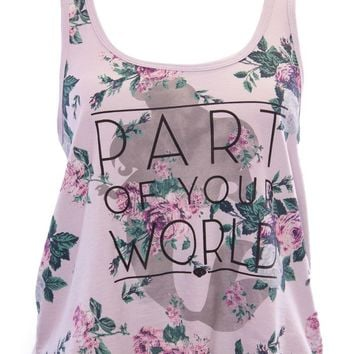 Mighty Fine Disney's The Little Mermaid Part of Your World Floral Tank Top