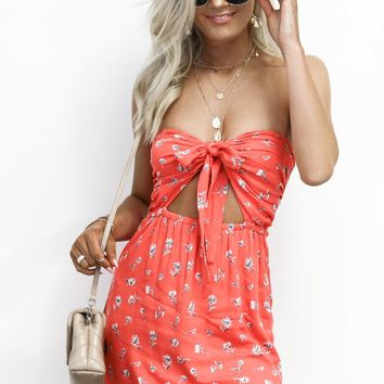 For Better Coral Floral Open Knot Mini Dress