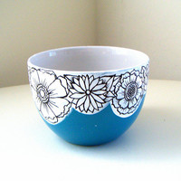 Ceramic Bowl Flowers Blue Black White Botanicals Painted Floral Turquoise Housewarming Wedding Gift Spring Decor - READY TO SHIP