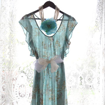 Summer sundress, Shabby beach blue cottage dress, romantic country chic party dress, boho dresses,  sundresses, True rebel clothing L