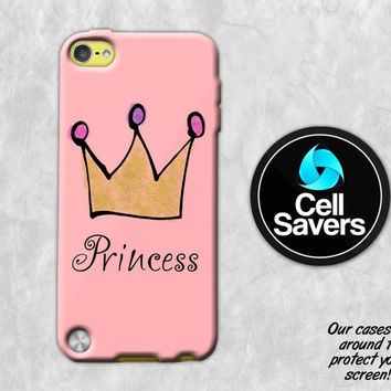 Pink Princess iPod 5 Case iPod 6 Case iPod 5th Generation iPod 6th Generation Rubber Case Gen Gold Crown Jewels Pink Coral Tumblr Queen Cute