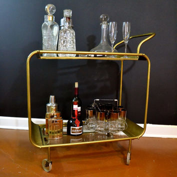Vintage Gold Bar Cart, Hollywood Regency 2 Tier Cart with Glass Shelves, Mid Century Rolling Cart