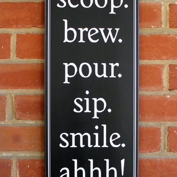 Coffee Wood Sign Kitchen Wall Decor Home