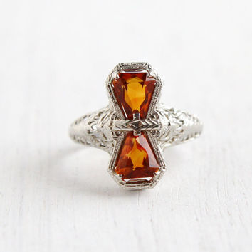 Antique 14k White Gold Filigree Stacked Citrine Ring - Vintage Size 7 1/2 Orange Stones 1920s Art Deco Fine Jewelry / Bow Shoulders