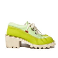 Lime Green Color Block Chunky Lace up Vintage Platform Kickers Sneaker Pumps // 7 - 7.5