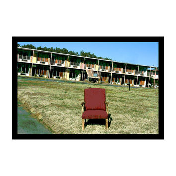 Pop Art, Photography, Urban Landscape, Urban Decay, Abandoned Building, Motel, Red Chair