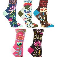 Subversive Floral Women's Crew Sock Collection Gift Set (5 Pairs)