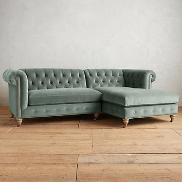 Velvet Lyre Chesterfield Right Sectional
