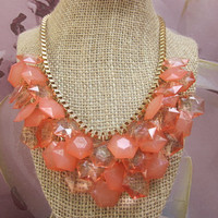 Coral Orange Chunky Beaded Bib Statement Necklace